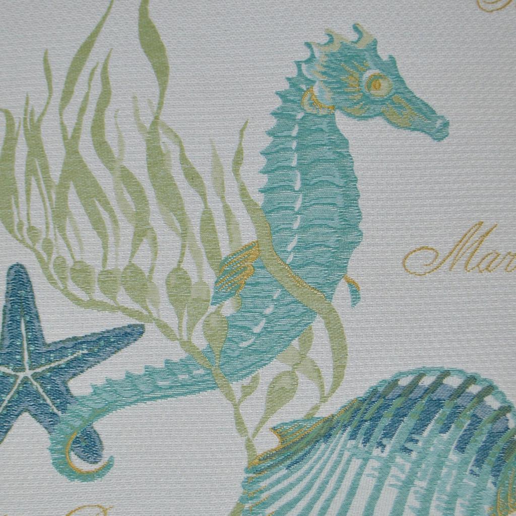 Aqua Seahorse Luxury Pillow fabric close up