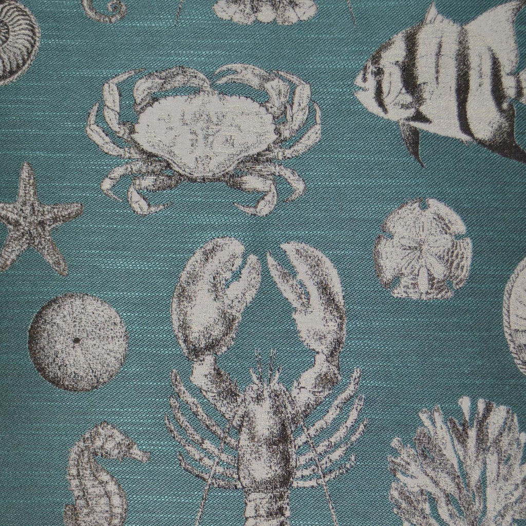 Vintage Inspired Turquoise Seafaring Pillow close up fabric
