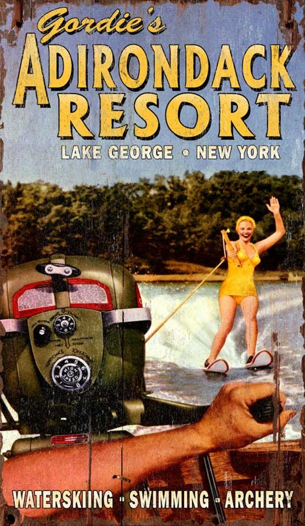 Lake Resort Skier Sign - Custom