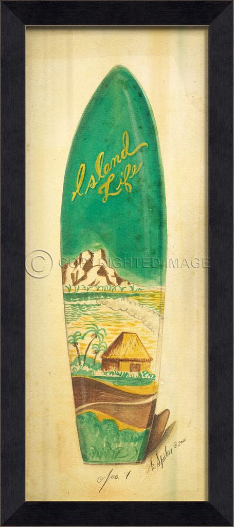 Island Life Surfboard Art - Black Frame