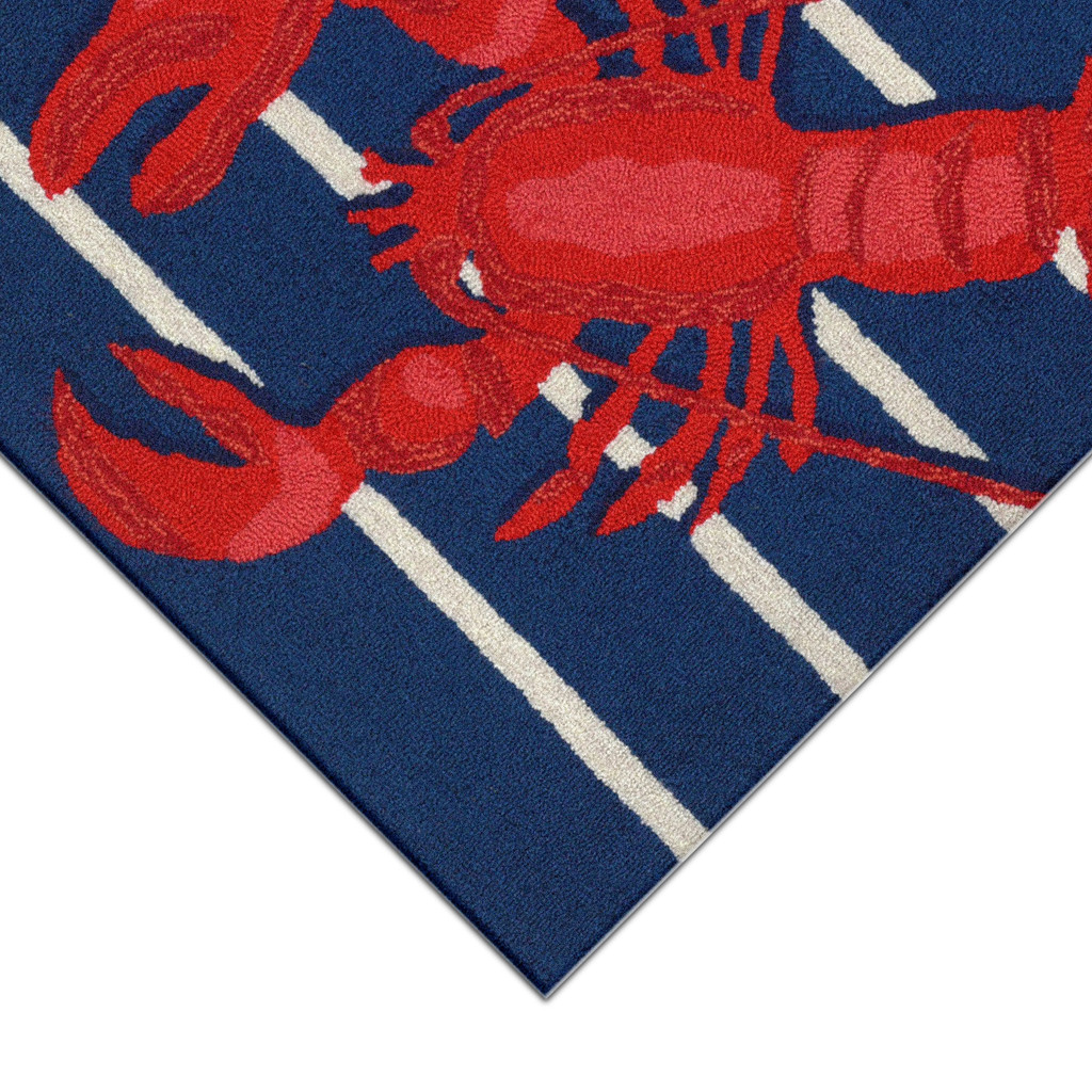 Lobster on Stripes Area Rug close up corner