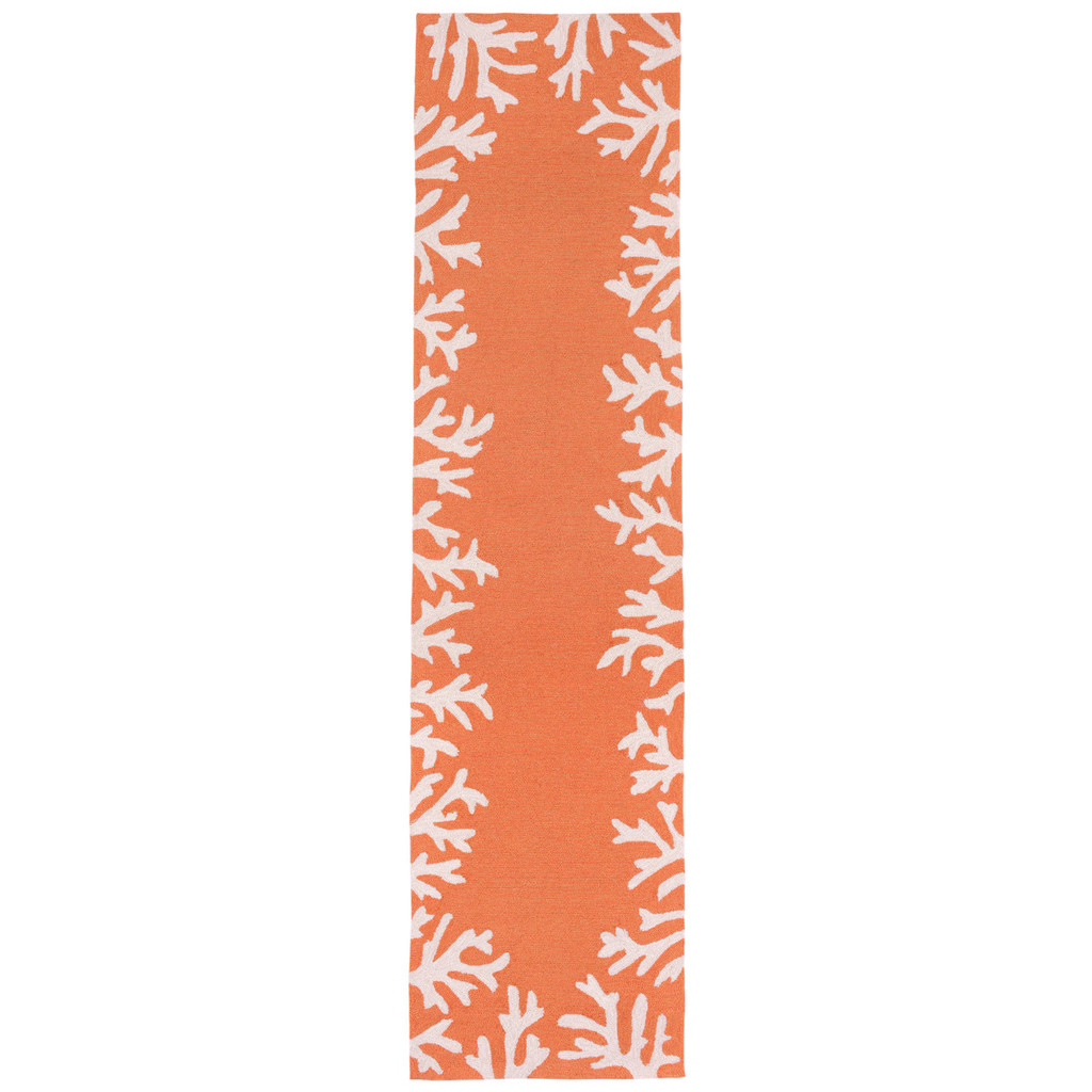 Coral Bordered Orange-Coral Area Rug runner image
