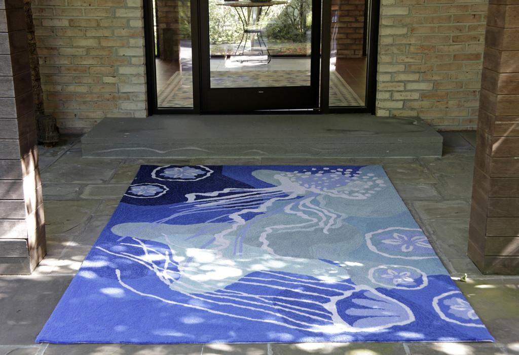 Ocean Blue Jellyfish Area Rug Room Image