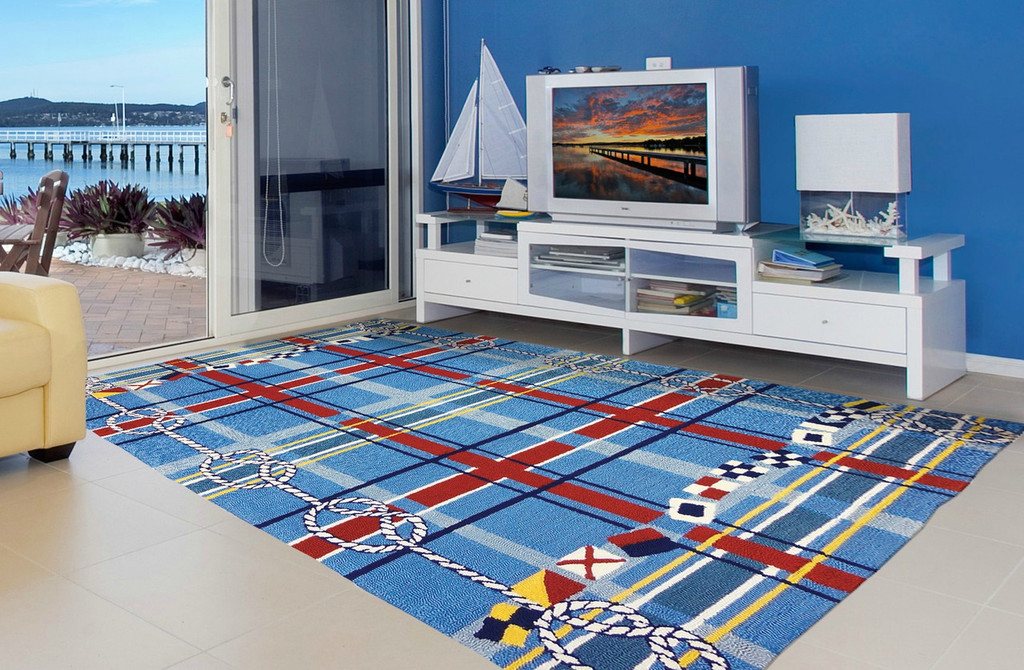 Nautical Plaid Area Rug