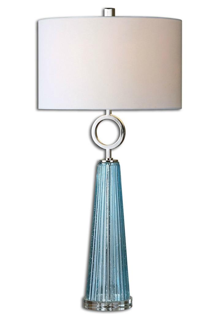 Navier Aqua Blue Glass Table Lamp