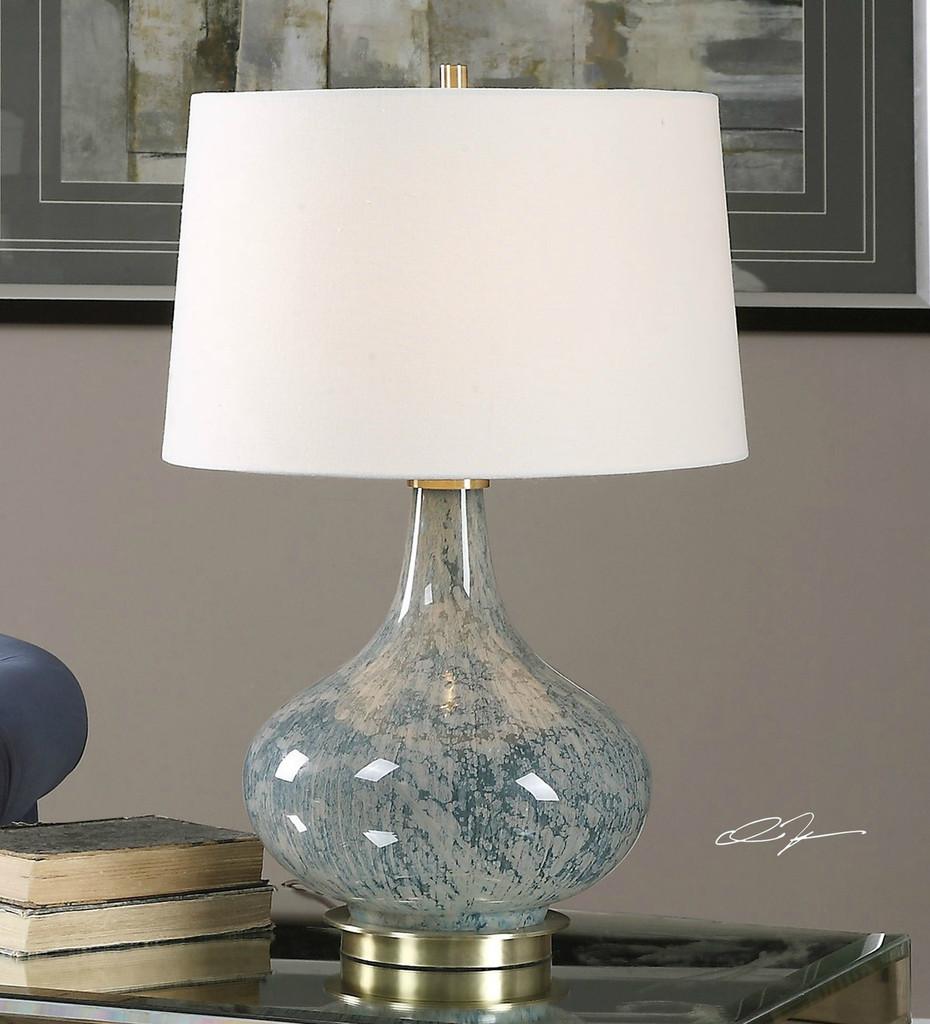 Sea Blue Gray Swirled Glass Lamp