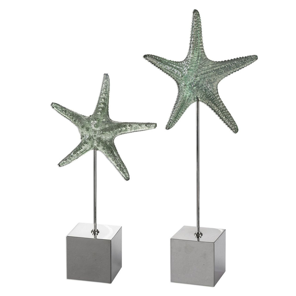 Translucent Green Starfish Sculpture Set