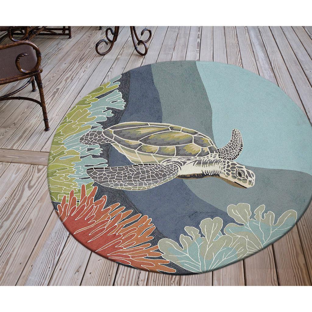 Akumal Ocean Sea Turtle Area Rug round version