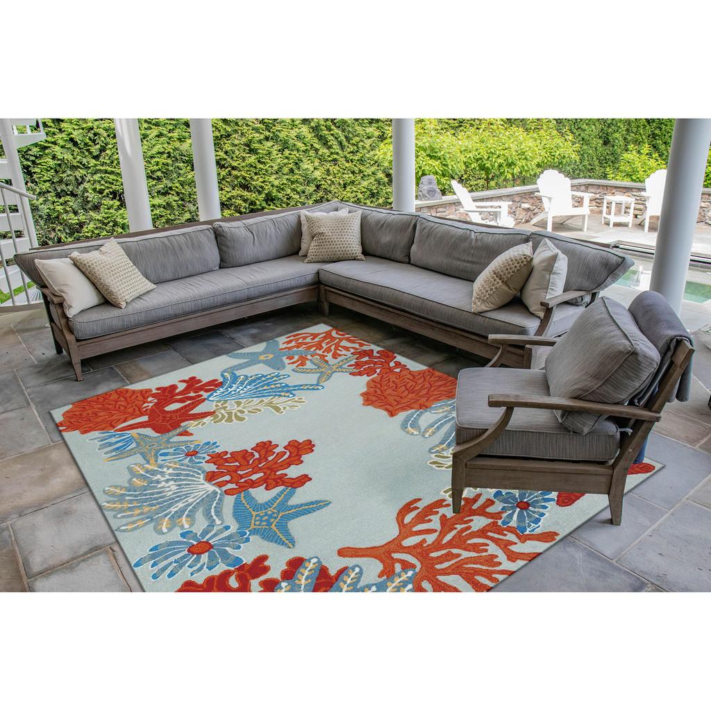 Aqua Ocean Scene Indoor-Outdoor Area Rug patio view 2