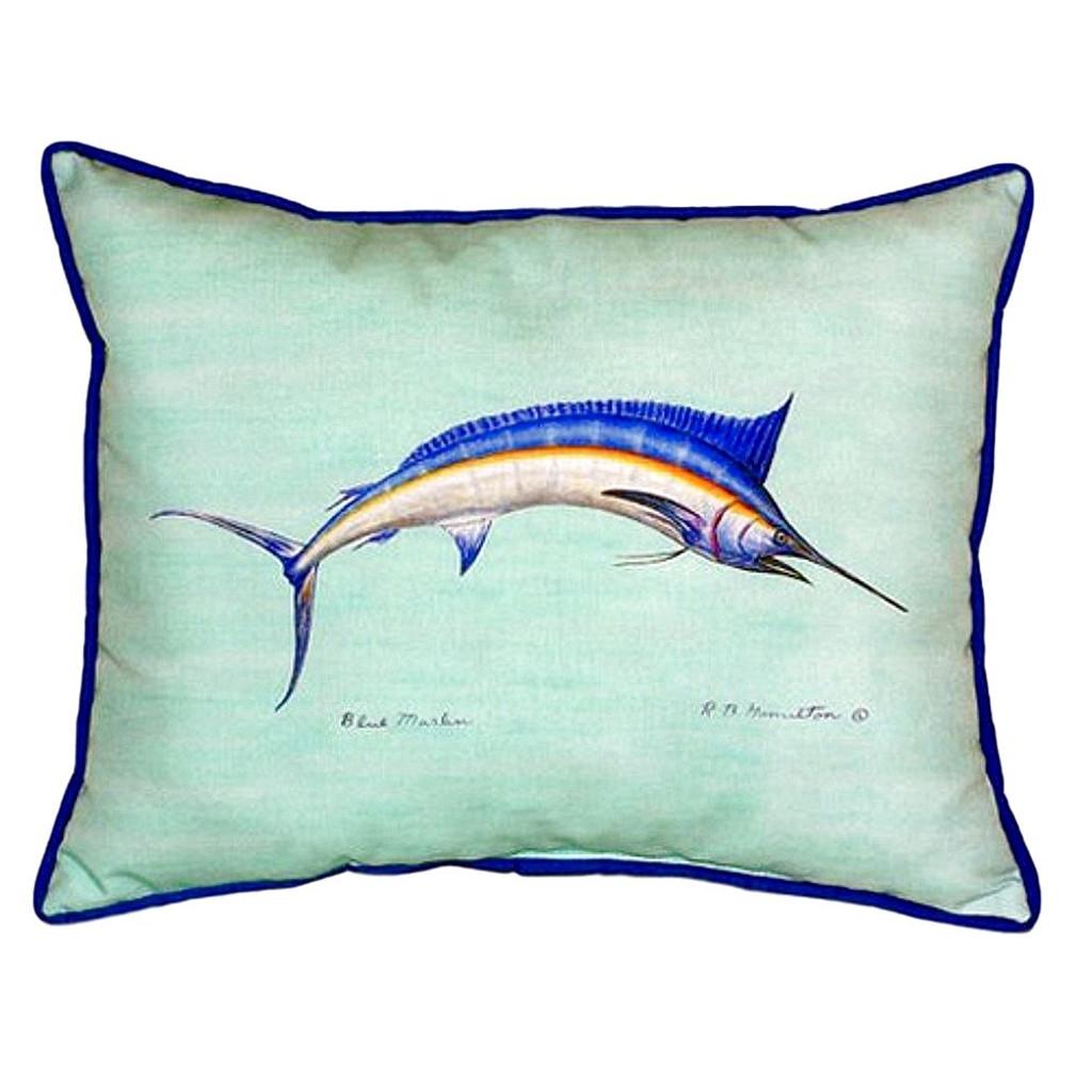 Teal Blue Marlin Pillow