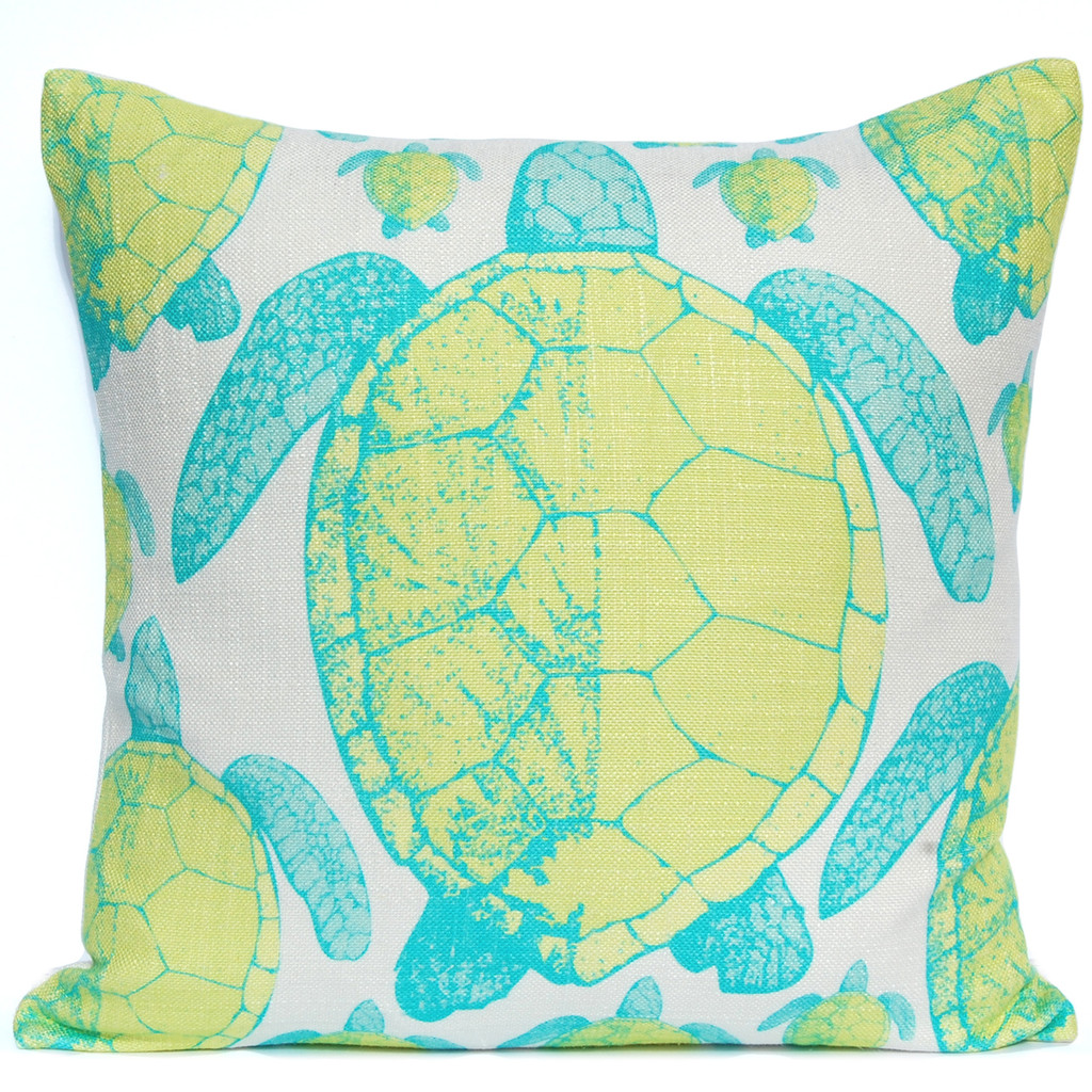 Lime and Aqua Sea Turtle Luxury Pillow