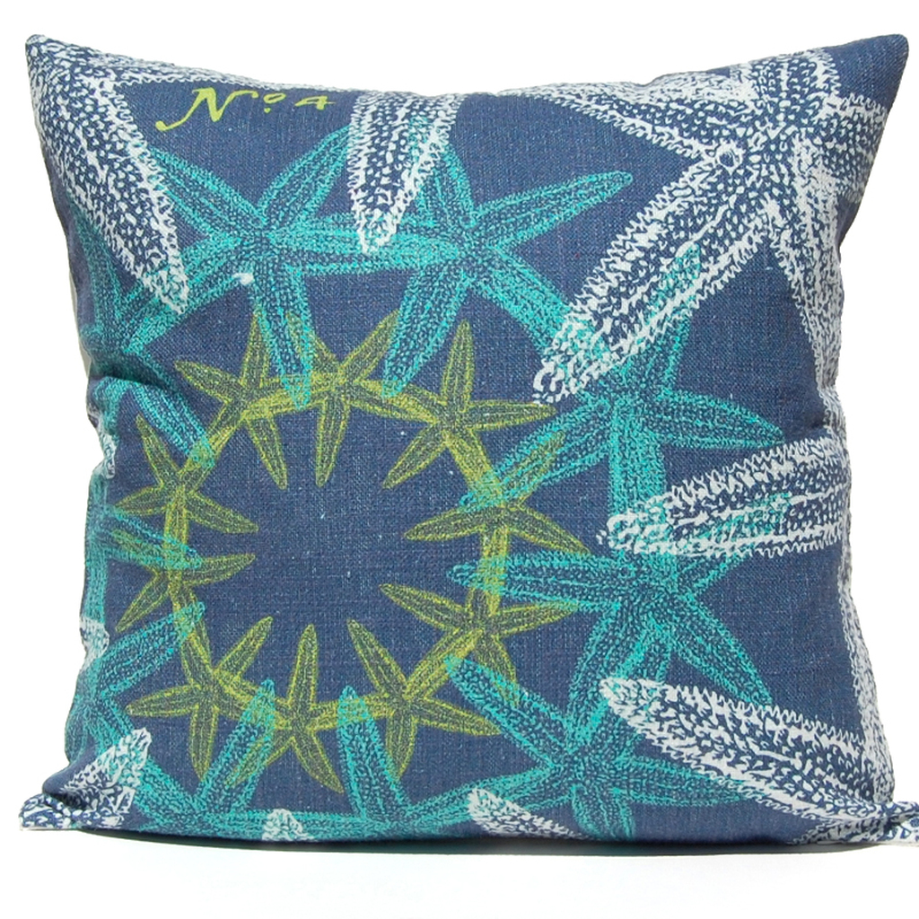Navy Ocean Starfish Suzani Luxury Pillow
