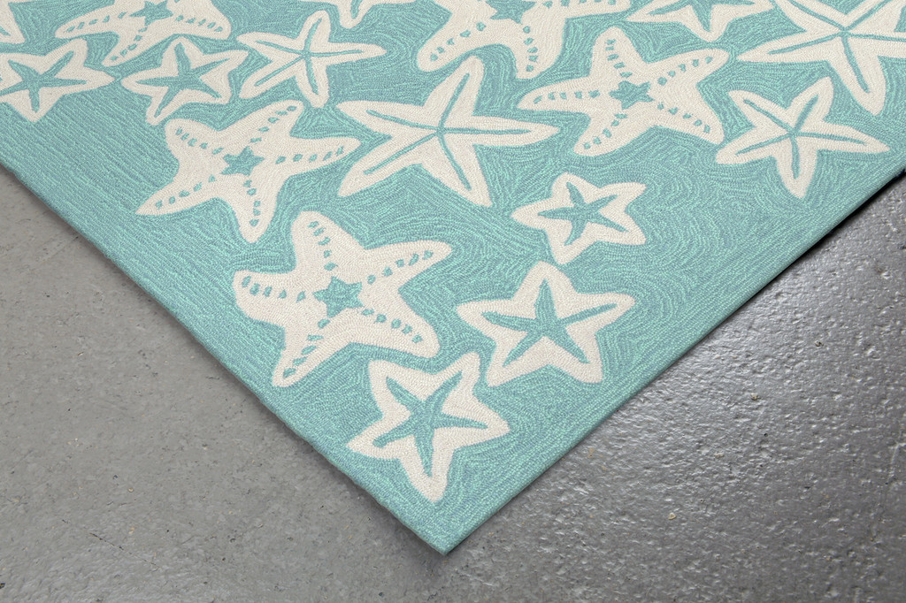 Starfish Aqua Rug corner close up