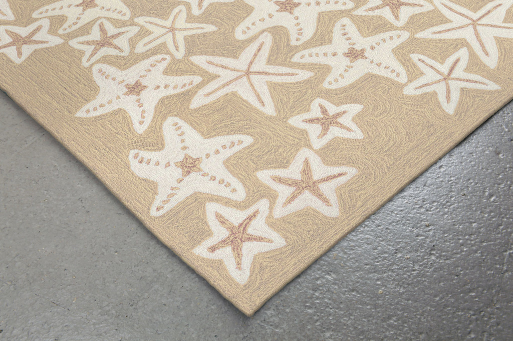 Starfish Tan and Ivory Area Rug corner close up