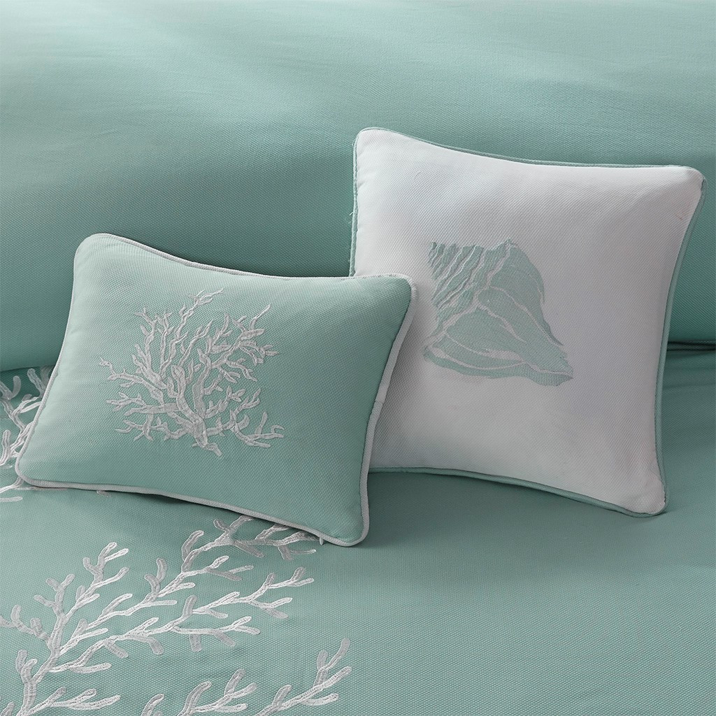 Aqua Blue Coastline Duvet Collection - Queen Size with decorative pillows