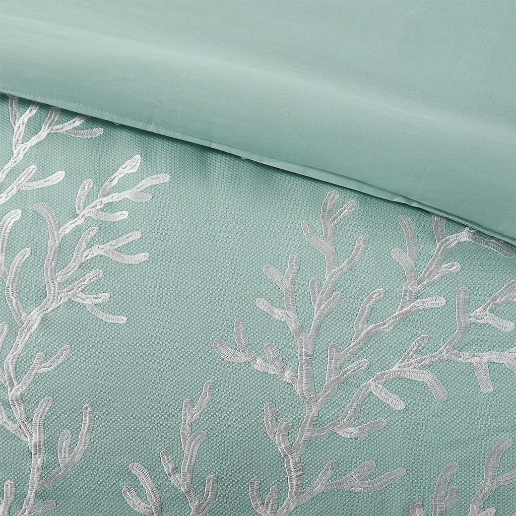 Aqua Blue Coastline Duvet Collection - King Size close up embroidery