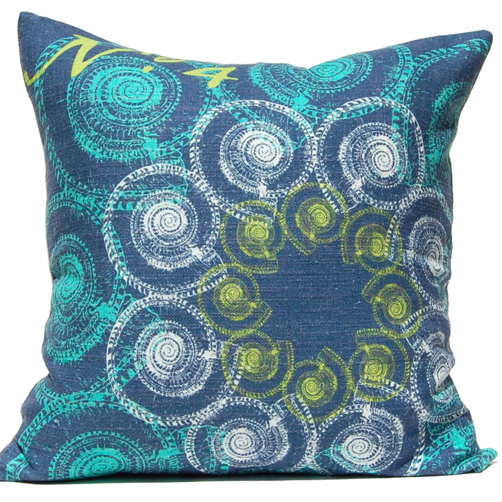 Navy Ocean Troca Shells Suzani Luxury Pillow