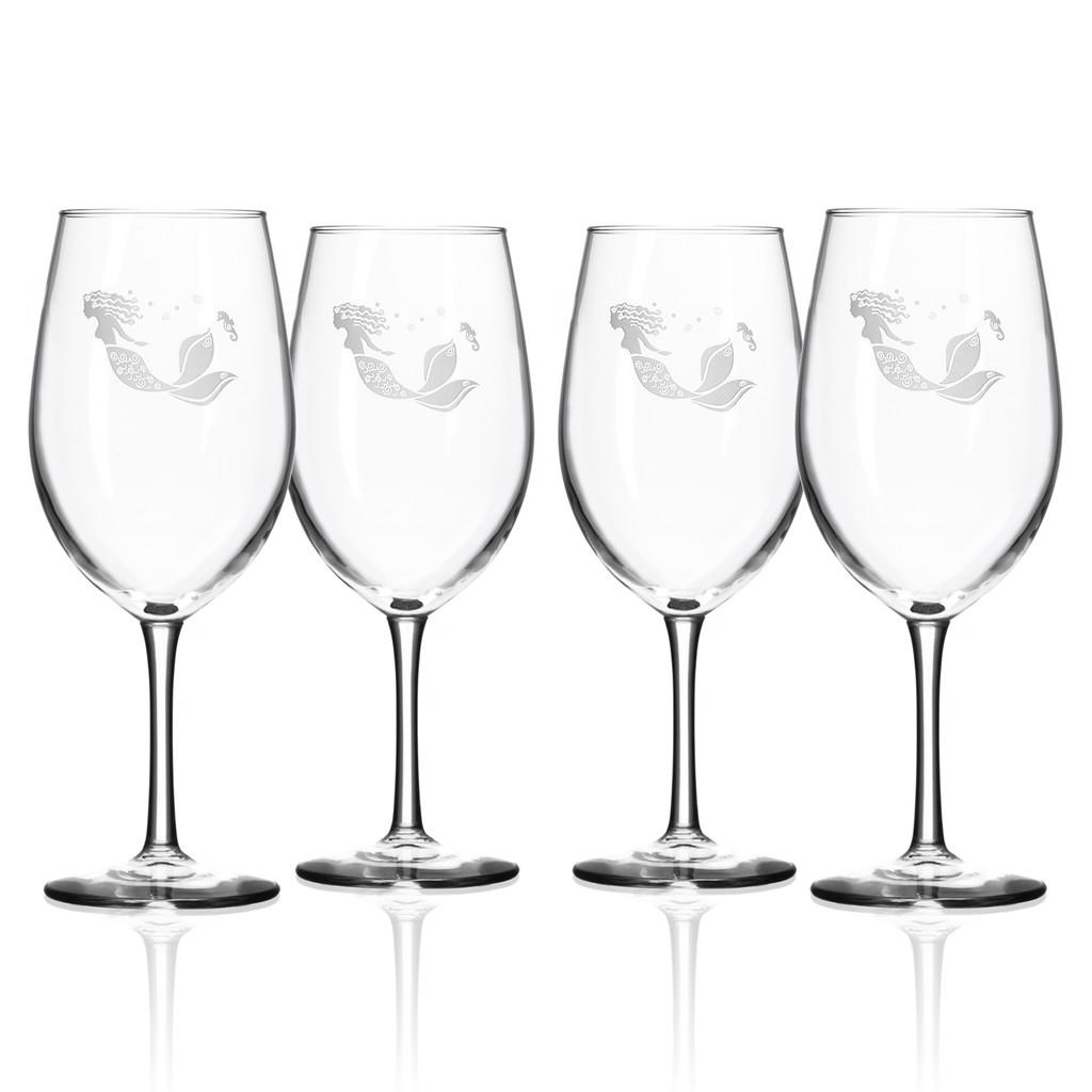 Mermaid Etched Large Wine Glasses - Set of 4