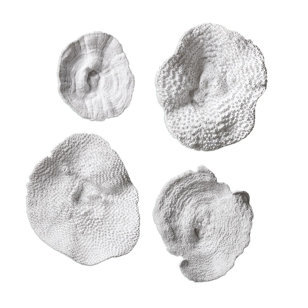 White Sea Coral Wall Art - Set of 4