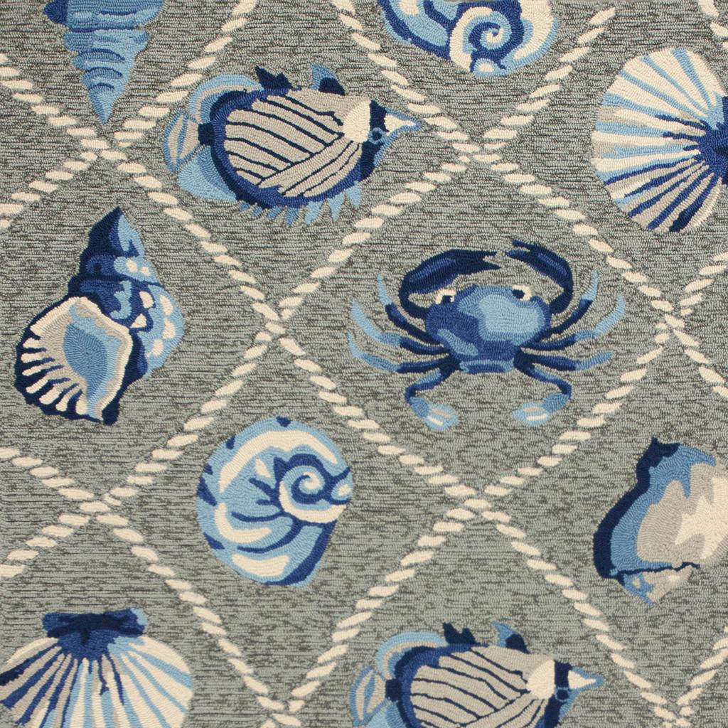 Harbor Seaside Grey Indoor-Outdoor Rug close up 1