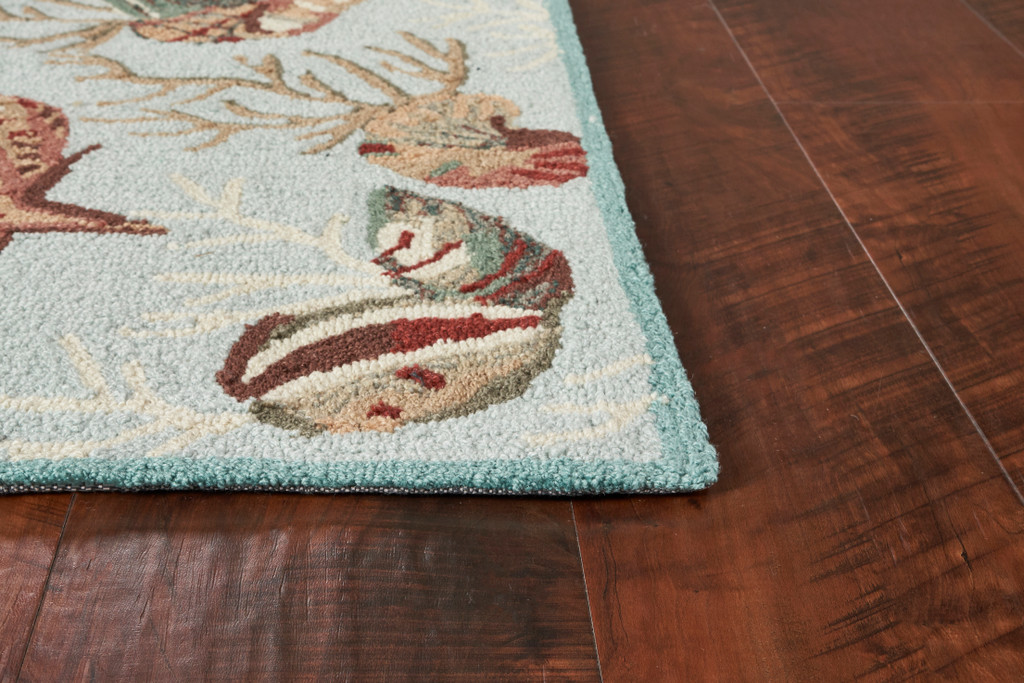 Light Blue Coral Reef Wool Hooked Rug corner and pile image