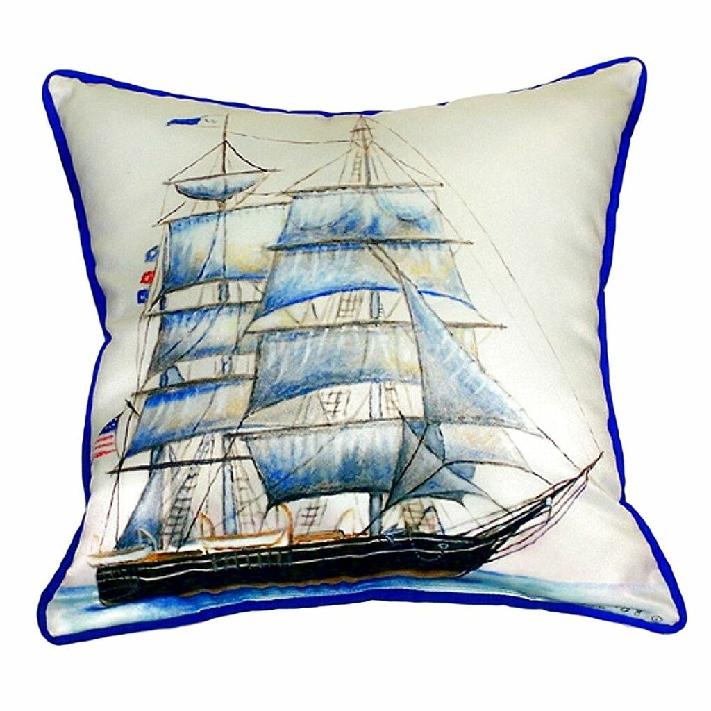 Blue Coastal Whaling Ship Pillow