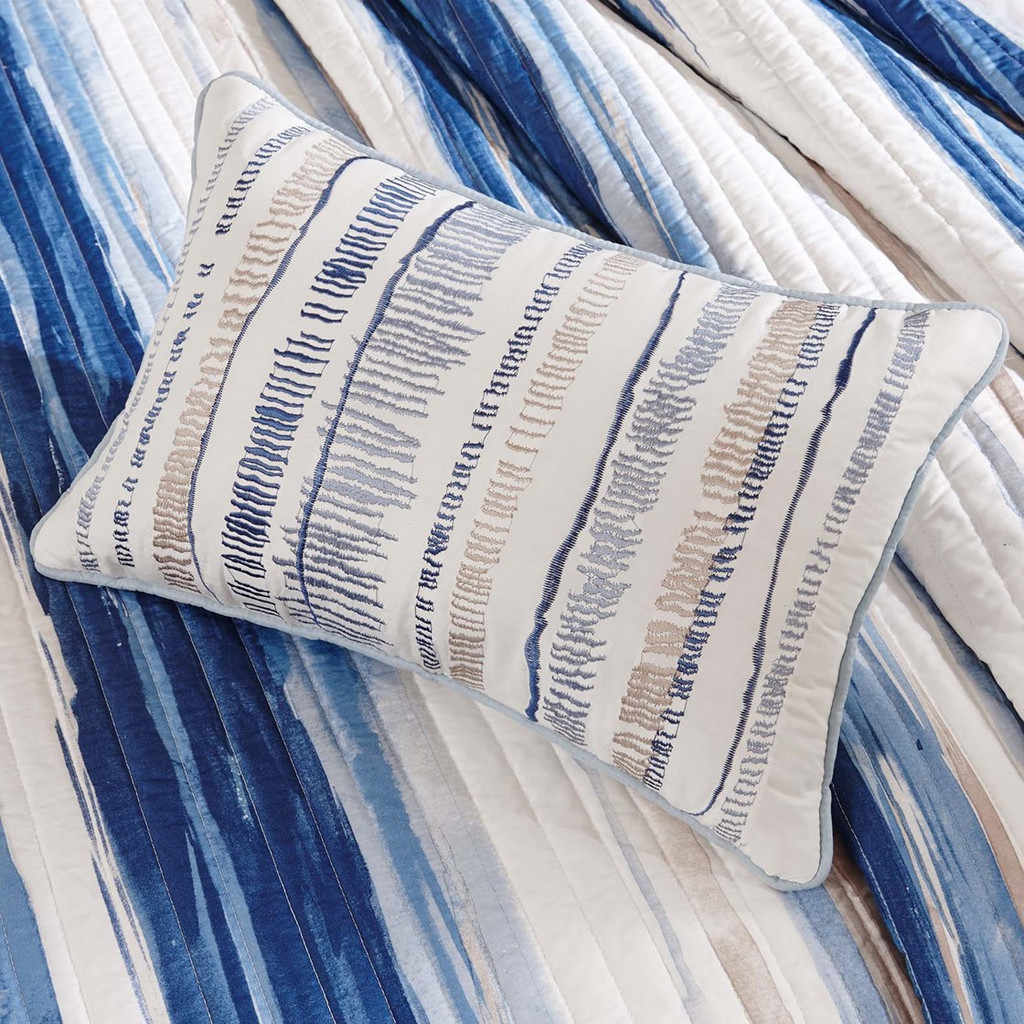 Marina Watercolor Striped Coverlet Set - Queen Size close up quilt 1