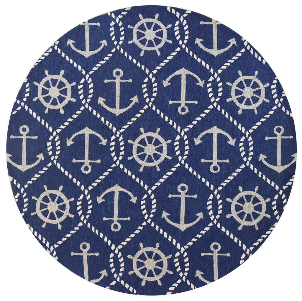 Navy Blue Marina Area Rug - Round