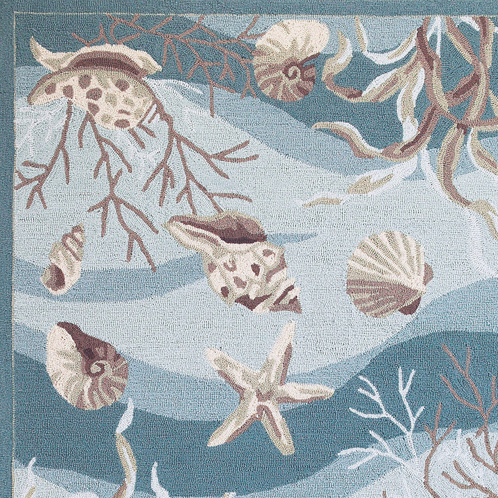 Seafoam Waves of Shells Hooked Rug close up corner