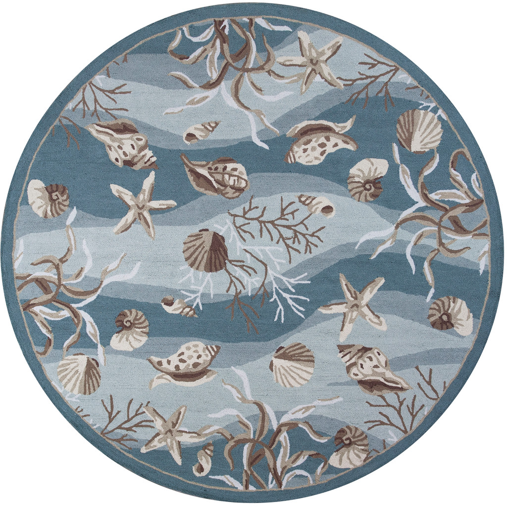 Seafoam Waves of Shells Hooked Rug round rug