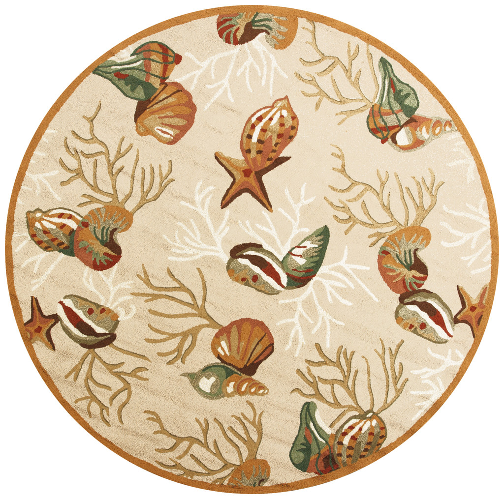 Beige Coral Reef and Shells Hand-Hooked Rug - round