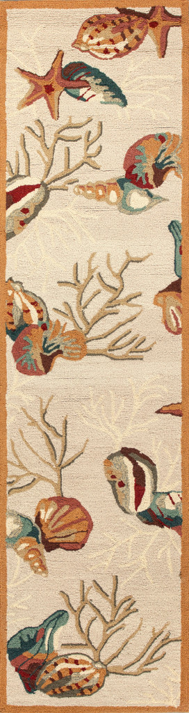 Beige Coral Reef and Shells Hand-Hooked Rug runner size