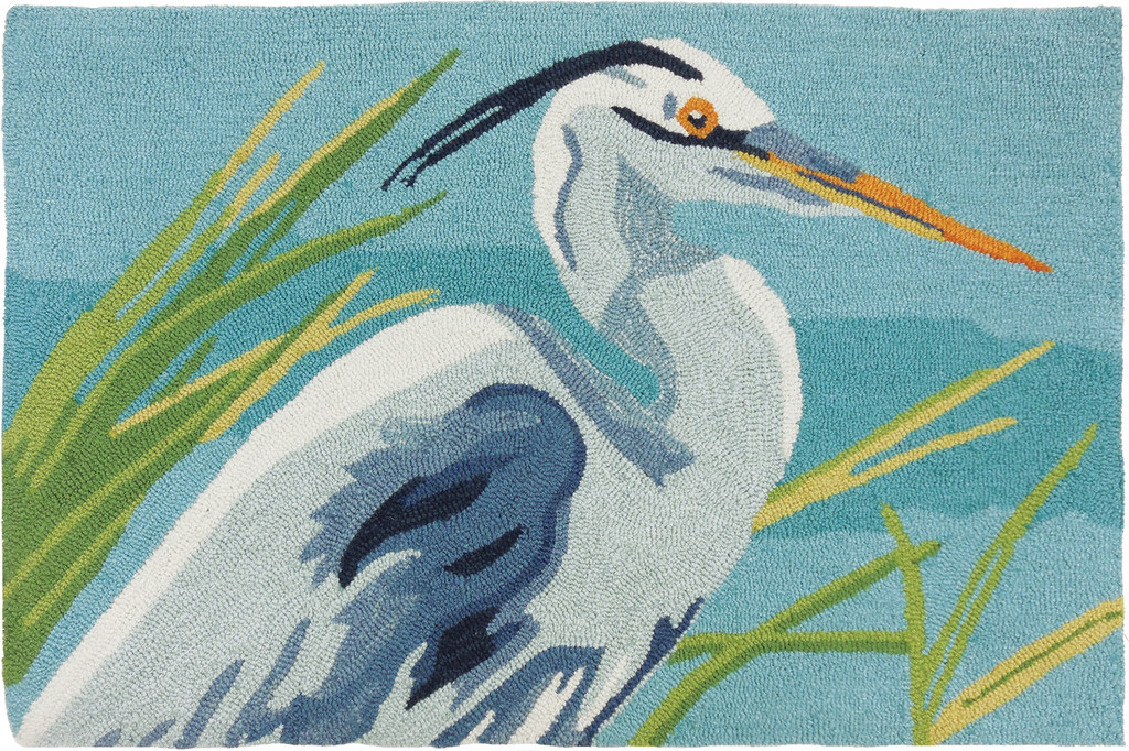 Blue Heron Hooked Accent Rug