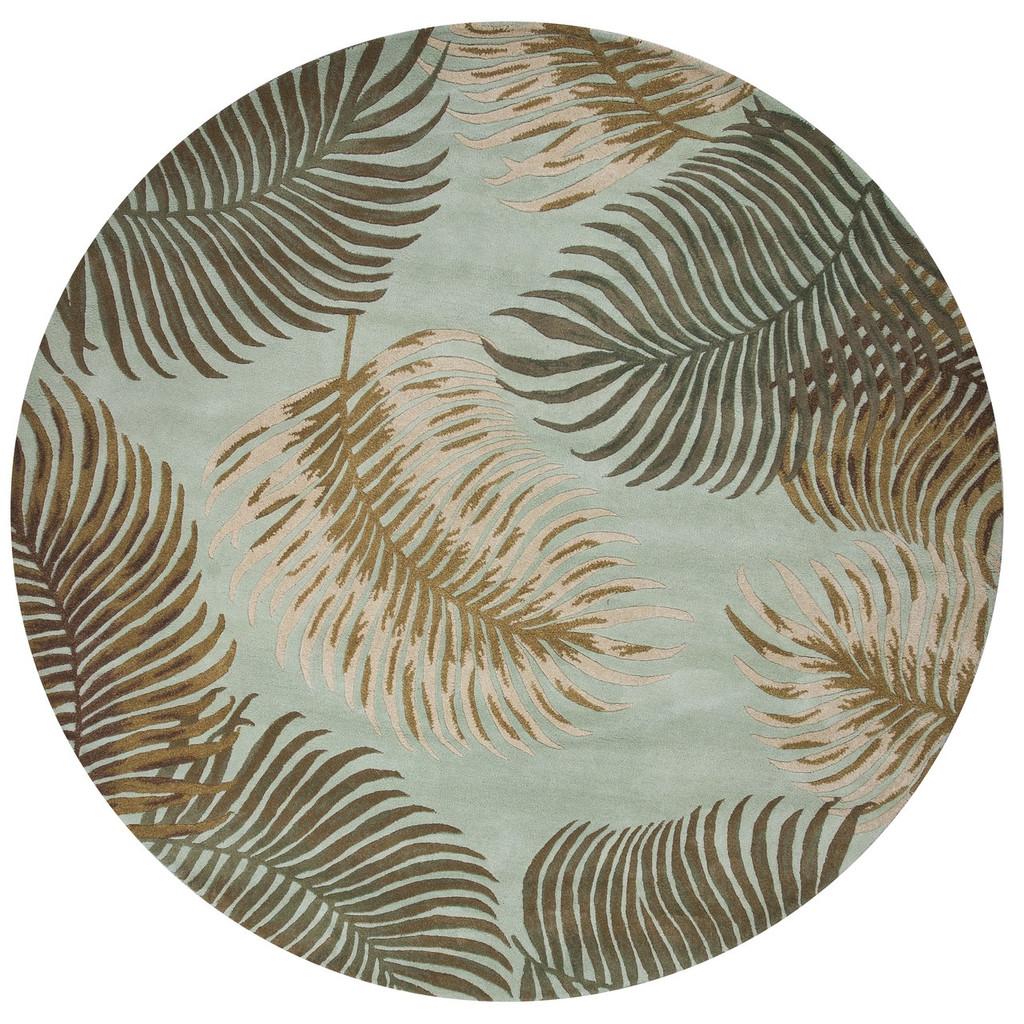 Aqua Tropical Fern Plush Wool Rug