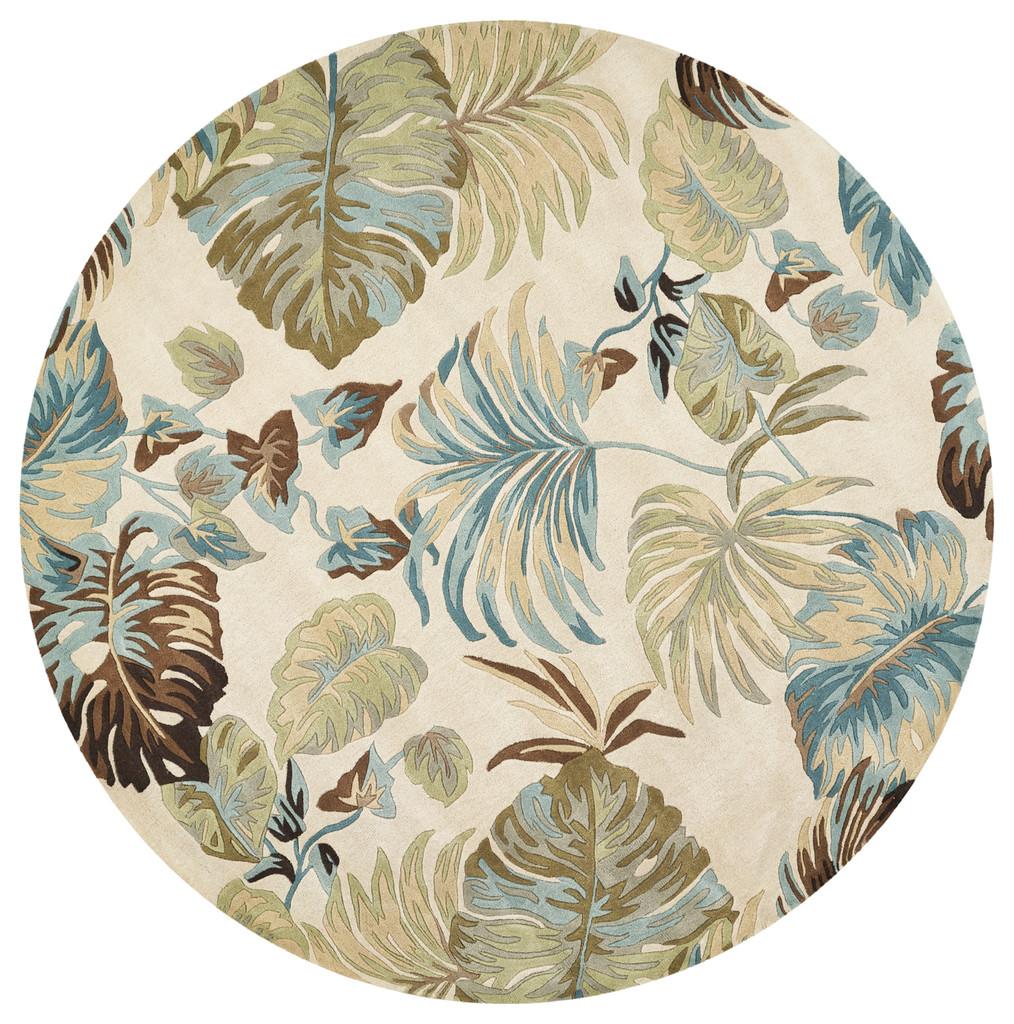 Ivory and Blue Island Oasis Luxury Rug round image