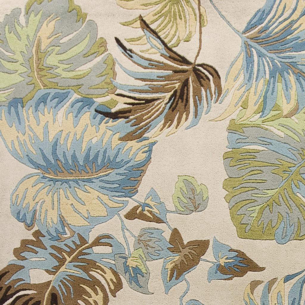 Ivory and Blue Island Oasis Luxury Rug close up