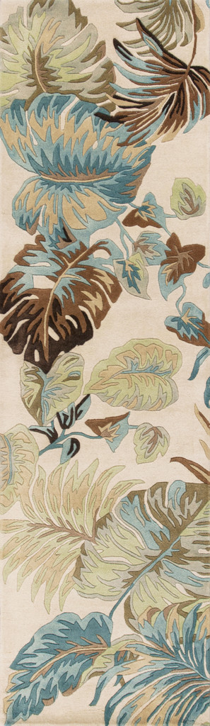 Ivory and Blue Island Oasis Luxury Rug  runner size