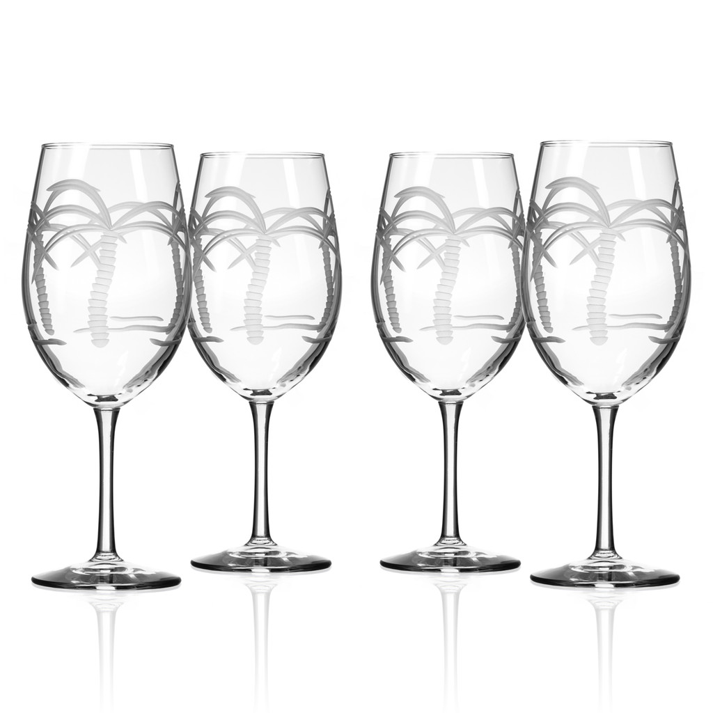 Palm Tree Etched Wine Glasses - set of 4
