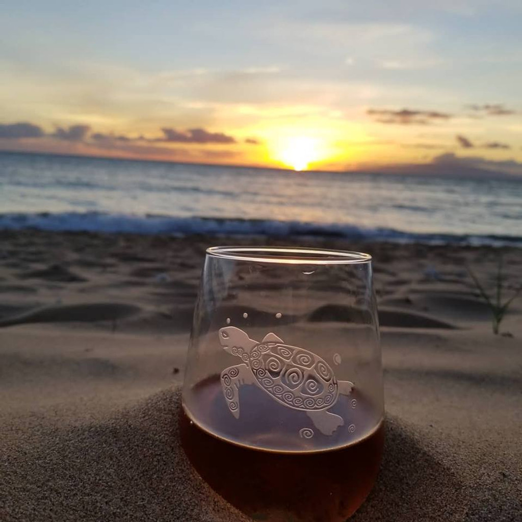 Sea Turtle Stemless Wine Tumblers - Kihei Sunset