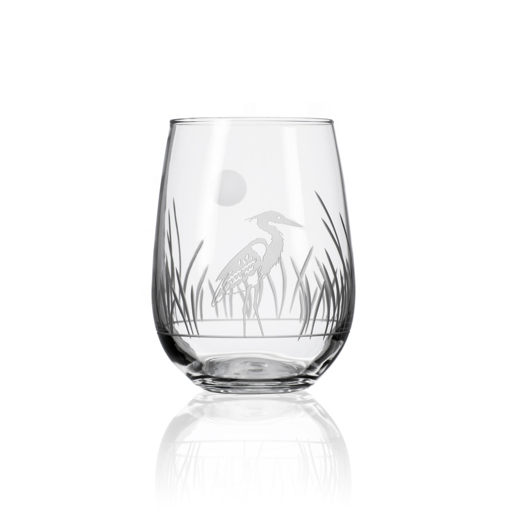 Heron Etched Stemless Wine Glasses - Set of 4