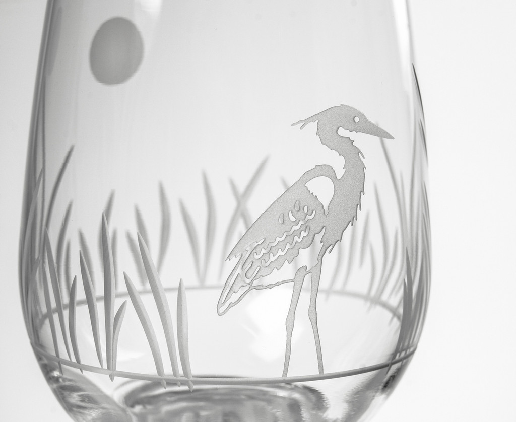 Heron Etched Stemless Wine Glasses - Set of 4 close up