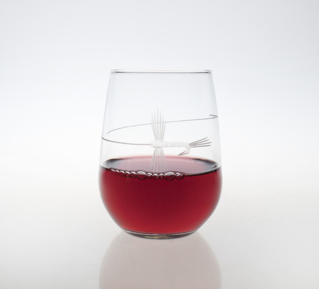 Fly Fishing Etched Stemless Wine Glasses - set of 4 with wine
