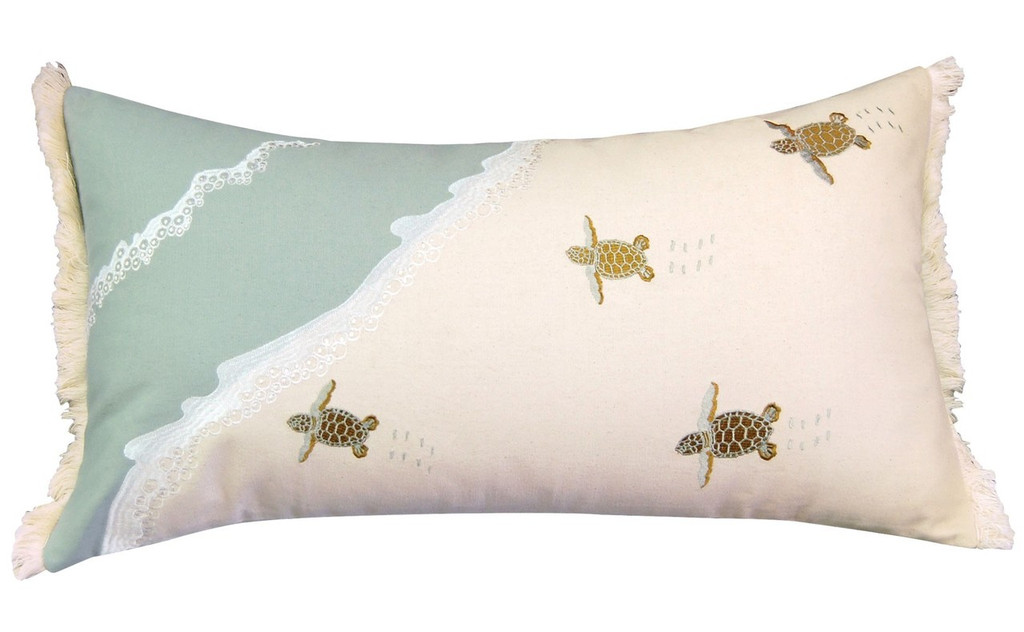 Baby Sea Turtle Migration Lumbar Pillow