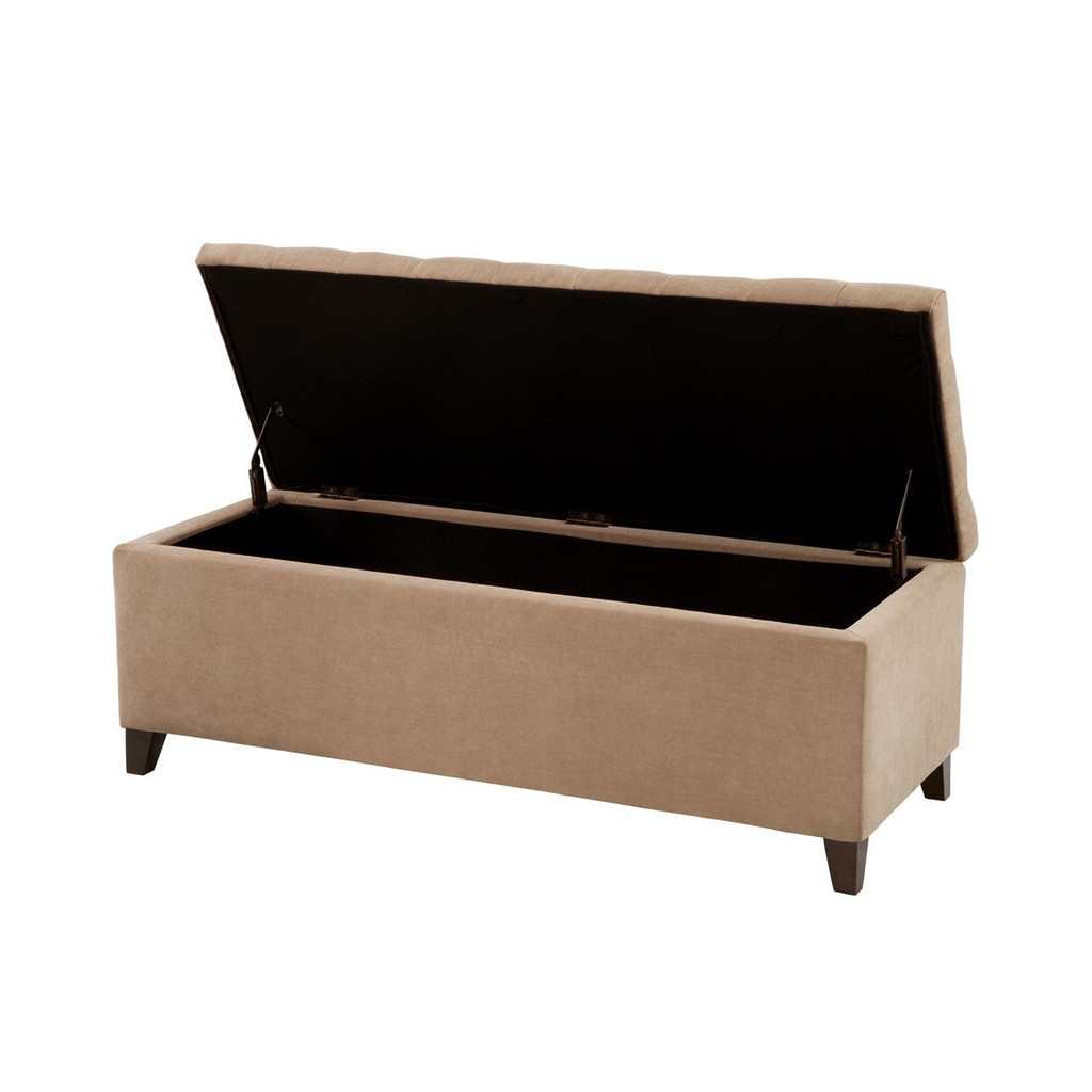 Sand Beige Tufted Storage Bench - open