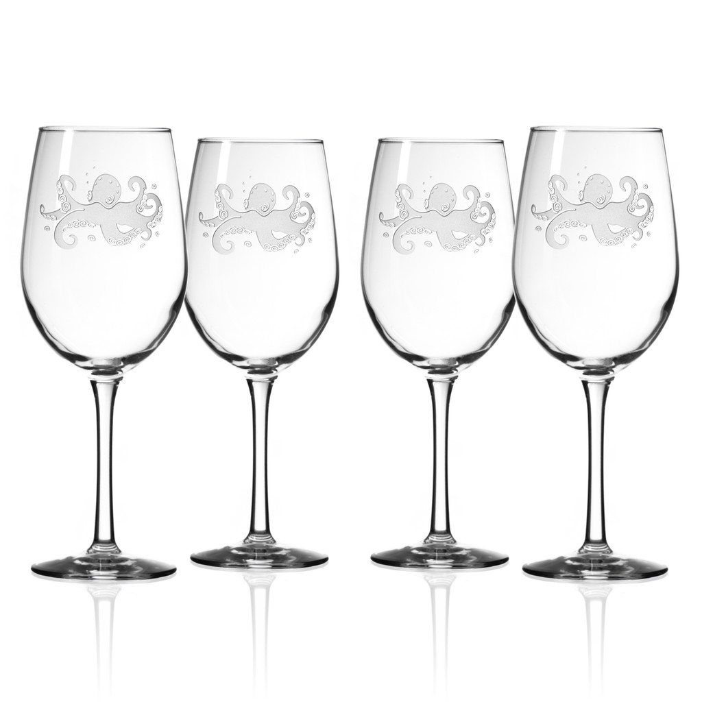 Octopus Etched 12 oz. Wine Glasses - Set of 4