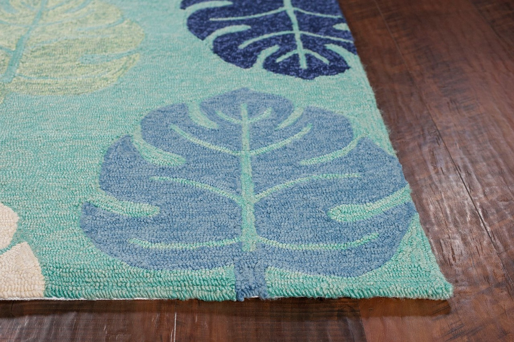 Turquoise and Blue Palms Indoor-Outdoor Area Rug corner image