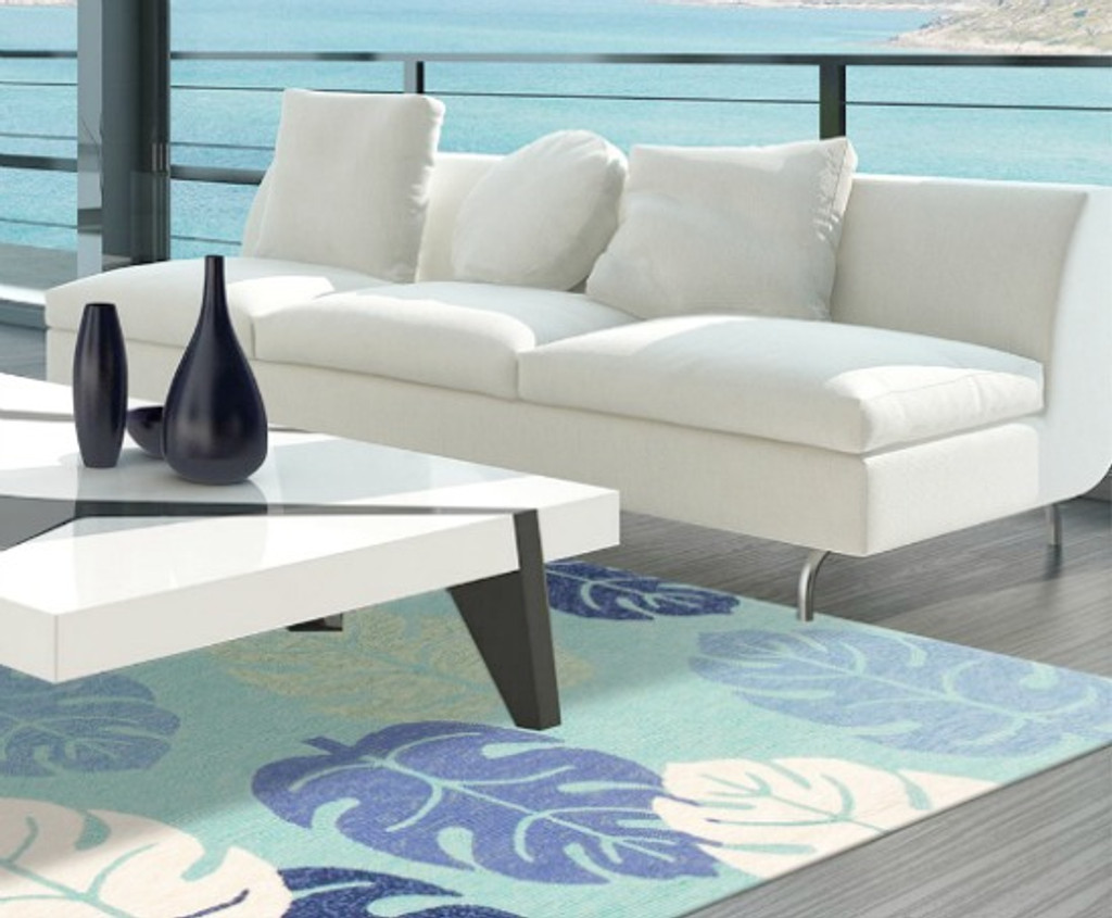 Turquoise and Blue Palms Indoor-Outdoor Area Rug room image 1