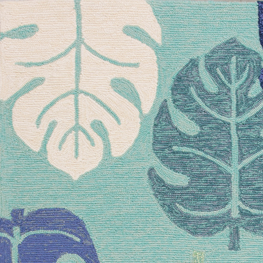 Turquoise and Blue Palms Rug close up 1