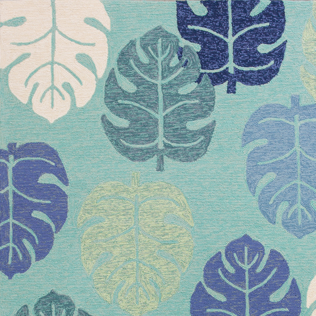 Turquoise and Blue Palms Rug close up 2