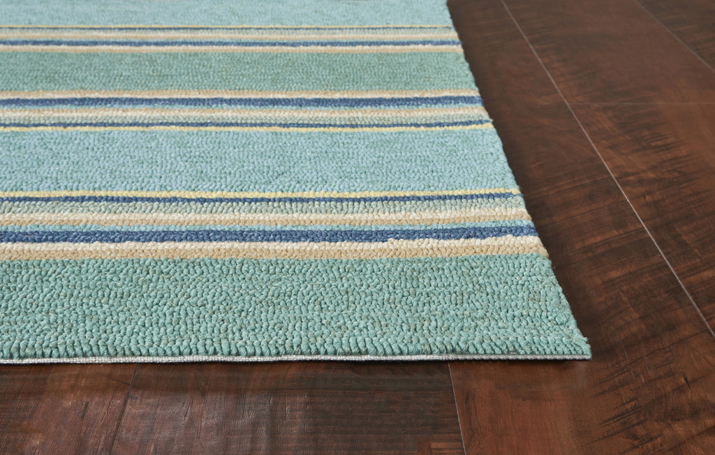 Harbor Turquoise Stripes Area Rug corner image